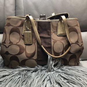 Signature Coach Brown and Gold Handbag